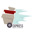 express delivery boxes or parcels on wheels food vector image vector image