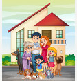 family member in front of house vector image