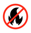 fire prohibition sign vector image vector image