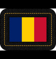 flag of romania icon on black leather backdrop vector image vector image