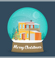 flat christmas snow globe christmas snow globe vector image vector image