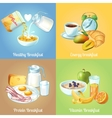 Four Breakfast Compositions vector image vector image