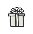 gift icon simple gray present box with ribbon vector image