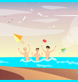 group of happy young people on beach vector image vector image