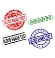 grunge textured blood sugar test stamp seals vector image vector image