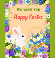 happy easter wishes greeting card bunny egg vector image