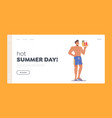 hot summer day landing page template male vector image