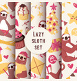 layzy sloth seamless pattern vector image