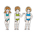 little girls group standing in colorful bikini vector image vector image