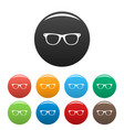 man glasses icons set color vector image