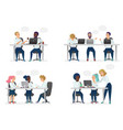 men and women people sitting working at desk vector image
