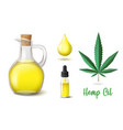 natural hemp oil icons set flask and glass bottle vector image