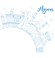 Outline Algiers Skyline with Blue Buildings vector image vector image