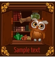 Owl sits on a bookshelf with scrolls and crystals vector image
