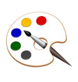 palette with paints and brush in vector image