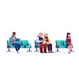 people waiting in queue line in hospital seats vector image vector image