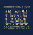 plate label typeface golden font isolated vector image vector image