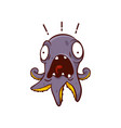 purple octopus with scared face expression marine vector image vector image