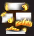 realistic detailed 3d fire banner set vector image