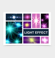 realistic glowing and light effects set vector image