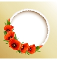 Red poppies floral round frame vector image