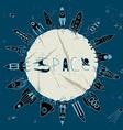 rocket space circle vector image vector image