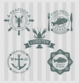 seafood set of colored emblems vector image vector image