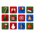 set of christmas icons flat with long vector image vector image