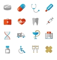 Set of colorful medical icons in flat colors vector image
