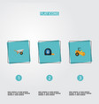 set of industry icons flat style symbols with road vector image