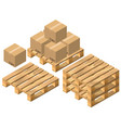 set pallet and cardboard boxes vector image