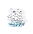 Ship with sails on watercolor background vector image vector image