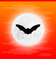 silhouette bat in full moon vector image vector image