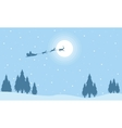 Silhouette of Santa with train deer on sky vector image vector image