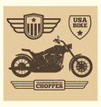 sport motorbike silhouette and vintage wing labels vector image vector image