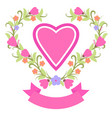 spring wreath with heart banner vector image vector image