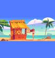 summer beach with tiki bar and girl in bikini vector image vector image