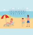 summer holiday flat banner cartoon tourist vector image vector image