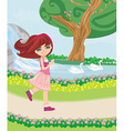 sweet girl in the park vector image vector image