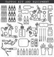Tattoo kit and icons vector image vector image