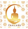 thailand gold buddha statue thai design white back vector image