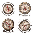 vintage colored nautical round emblems set vector image vector image