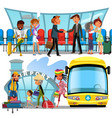 witing room airport window and rows of chairs vector image vector image