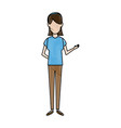 woman standing people avatar female image vector image vector image