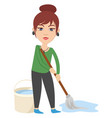 woman with cleaning mop on white background vector image