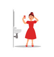 young caucasian girl making selfie on smartphone vector image