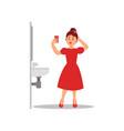 young caucasian girl making selfie on smartphone vector image vector image