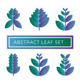 abstract natural leaf logo icon purple and blue vector image