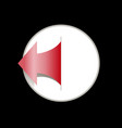 arrow red in white circle on black background vector image vector image