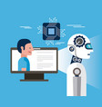 artificial intelligence computer person vector image vector image